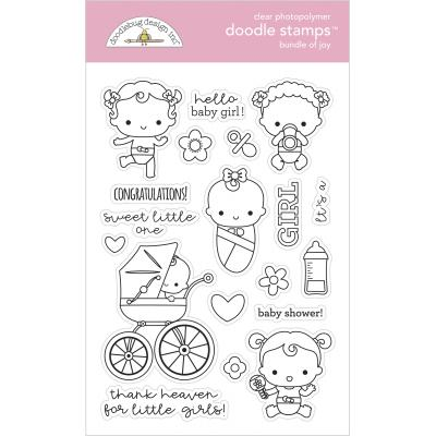 Doodlebug Baby Girl Doodle Stamps - Bundle Of Joy